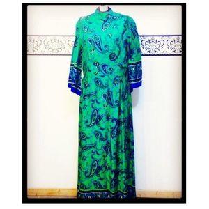 Vintage 60's Green Paisley Kimono Maxi Dress Large